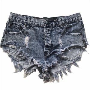One Teaspoon Raw Hem Distressed Jean Shorts